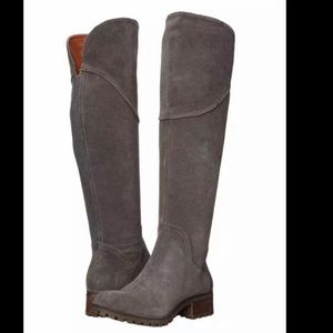 Lucky Brand Harleen gray suede over the knee boots